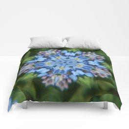 Fluid Nature - Forget Me Not - Abstract Kaleidoscope Comforters