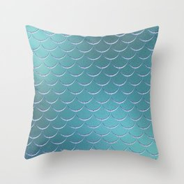 Minimalist Fish Scale Pattern in Iridescent Blue- Green 17 Throw Pillow
