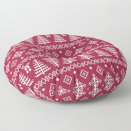 Christmas Tree Sweater Pattern - Classic Red Floor Pillow