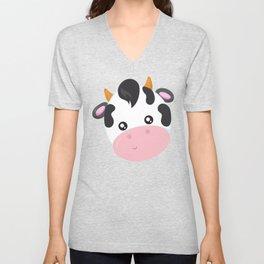 Cute Cow, Little Cow, Cow Head, Cow Face Unisex V-Neck