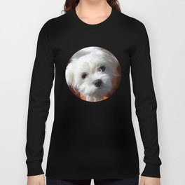 Cute Maltese asking for a treat Long Sleeve T-shirt