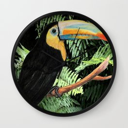 Toucan and Ferns Wall Clock