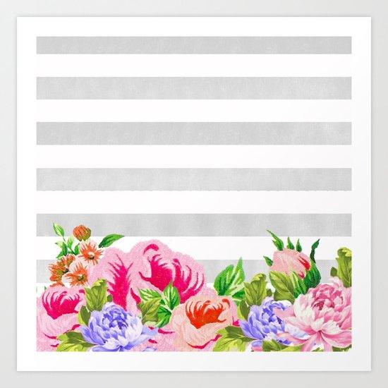 FLORAL GRAY STRIPES Art Print