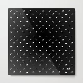 SMALL ANIMALS PATTERN in black and white Metal Print
