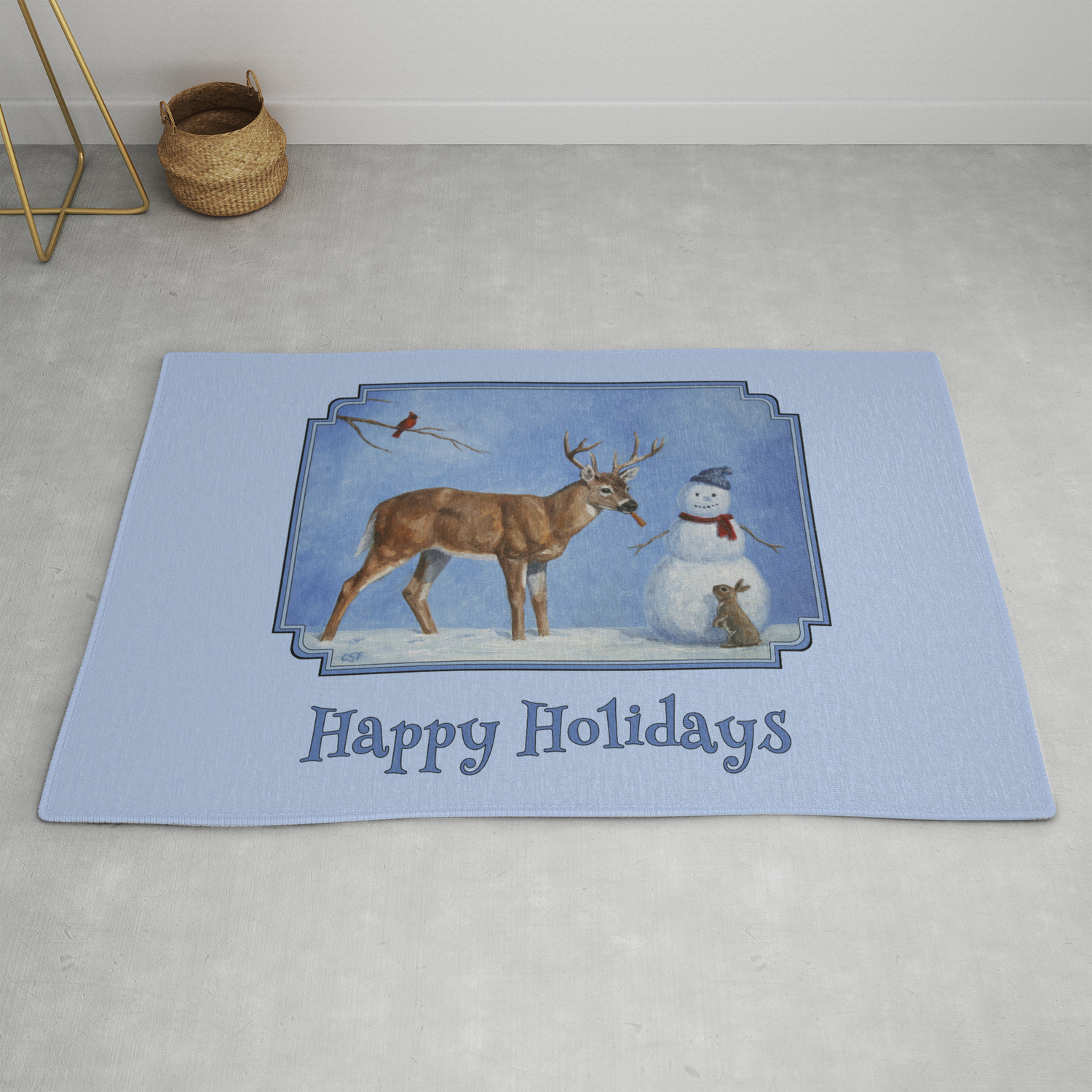 Christmas Deer Eating Snowman Carrot Nose Rug By Csforest
