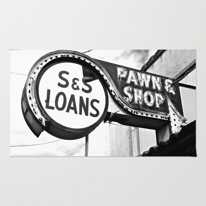 Old pawn shop sign Rug