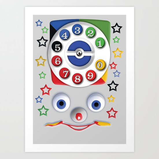 Retro Vintage smiley kids Toys Dial Phone iPhone 4 4s 5 5s 5c, ipod, ipad, pillow case and tshirt Art Print