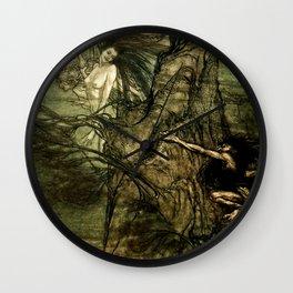 """""""Alberich Climbs the Rock"""" by Arthur Rackham Wall Clock"""
