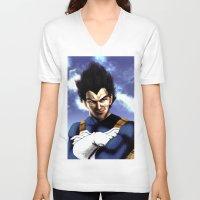 vegeta V-neck T-shirts featuring Prince Vegeta by Shibuz4
