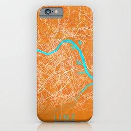 Linz, Austria, Gold, Blue, City, Map iPhone Case