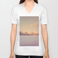 new york skyline V-neck T-shirts featuring New York City Skyline by Vivienne Gucwa
