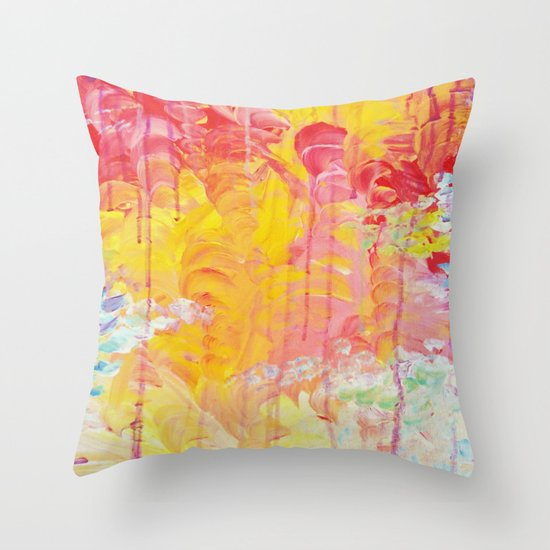 SUN SHOWERS - Beautiful Pastel Coloful Rain Clouds Bright Sky Abstract Acrylic Painting Throw Pillow