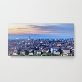 Cityscape with San Domenico Basilica and Asinelli Tower at dusk, elevated view, Bologna, Italy Metal Print