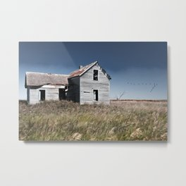 Prairie Farmhouse and Migrating Geese Metal Print