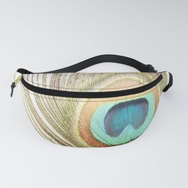 Peacock Feather Photography, Brown Teal Peacock Feathers Art, Modern Turquoise Orange Nature Fanny Pack