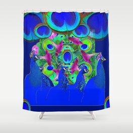 BLUE PEACOCKS & PURPLE MORNING GLORIES Shower Curtain