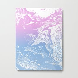 Suminagashi marble pastel pink and blue minimal watercolor spilled ink swirl Metal Print
