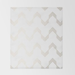 Simply Deconstructed Chevron White Gold Sands on White Throw Blanket