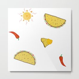 Hot Pepper Taco Party Metal Print