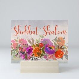 Watercolor Shabbat Shalom Floral Art Mini Art Print