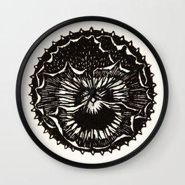 Pansy floral woodcut - Jule De Graag Wall Clock