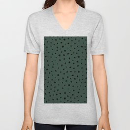 Cheetah Spots animal print minimal wild cat speckles and dots Forest Green Unisex V-Neck