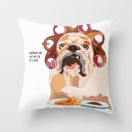 English Bulldog-Mornings are not my cup of coffee! Throw Pillow
