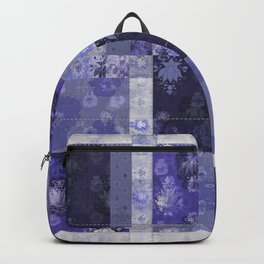 Lotus flower blue stitched patchwork - woodblock print style pattern Backpack