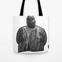biggie Tote Bags featuring biggie by irdion