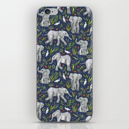 Baby Elephants and Egrets in Watercolor - navy blue iPhone Skin