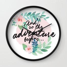 Adventure Begins, watercolor floral quote Wall Clock