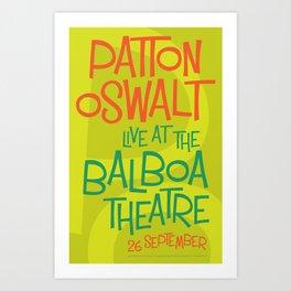 Patton Oswalt Balboa Theatre San Diego Show Poster Art Print