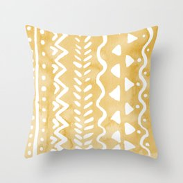 Loose bohemian pattern - yellow Throw Pillow