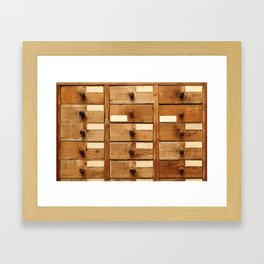 Wooden cabinet with drawers Framed Art Print