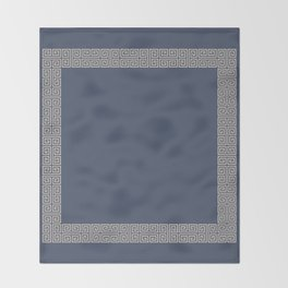 Blue and Tan Greek Key Pattern Border Throw Blanket