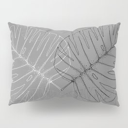 Monstera Palm Leaves in Line work | sketch in black and white colors Pillow Sham