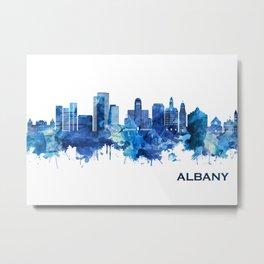 Albany New York Skyline Blue Metal Print