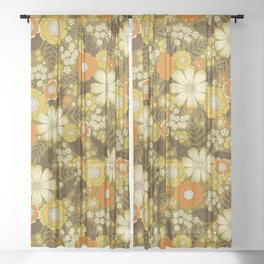 1970s Retro/Vintage Floral Pattern Sheer Curtain