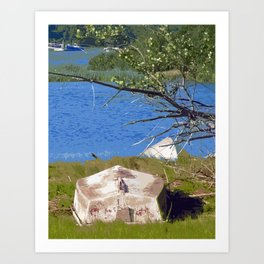 Painterly Photo Illustration Small Boat in Grass Under Summer Sun, Cape Cod Art Print