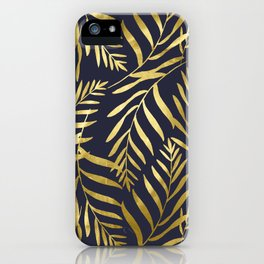 Gold Leaves on Navy iPhone Case
