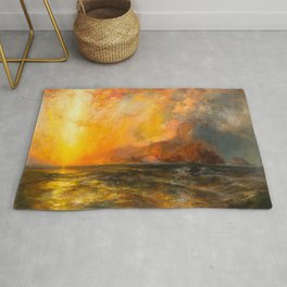 Majestic Golden-Orange Sunset Over the Troubled Atlantic Ocean landscape by Thomas Moran Rug