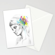 Butterfly Queen Girl with Butterflies Stationery Cards