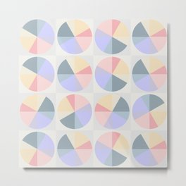 Abstract pattern circles and squares pastel colors Metal Print