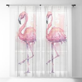Pink Flamingo Watercolor Tropical Bird Sheer Curtain