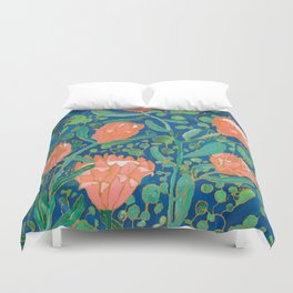Coral Proteas on Blue Pattern Painting Duvet Cover