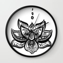 Lotus flower b/w Wall Clock