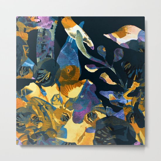 blue abstract floral Metal Print