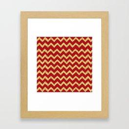 Chevron Red Gold Framed Art Print