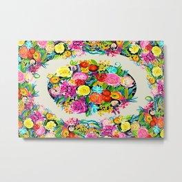 Bright Floral Bouquet Rug v3 Metal Print