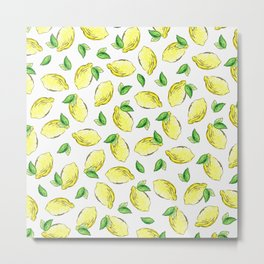 Lemon Watercolor Pattern Metal Print